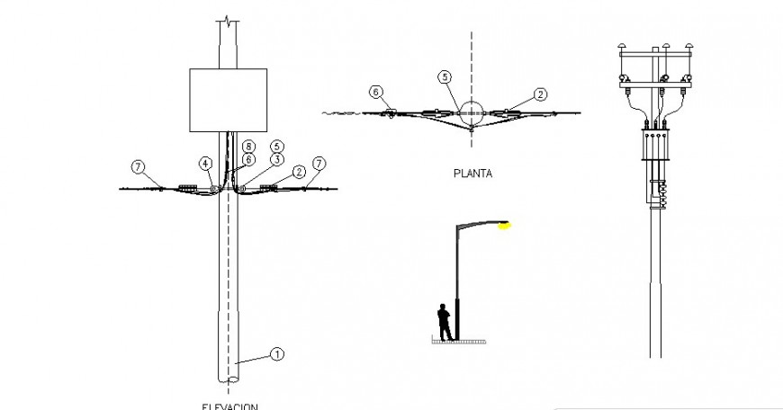 Electrical pole elevation, section and installation drawing details dwg file