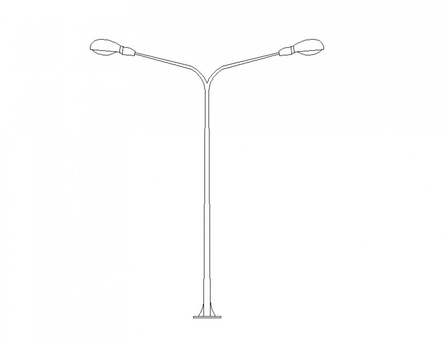 Electrical street lamp post detail 2d view CAD blocks autocad file
