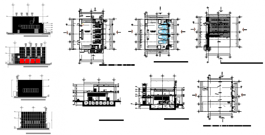 Electrical sub station all sided elevation, section and floor plan details dwg file
