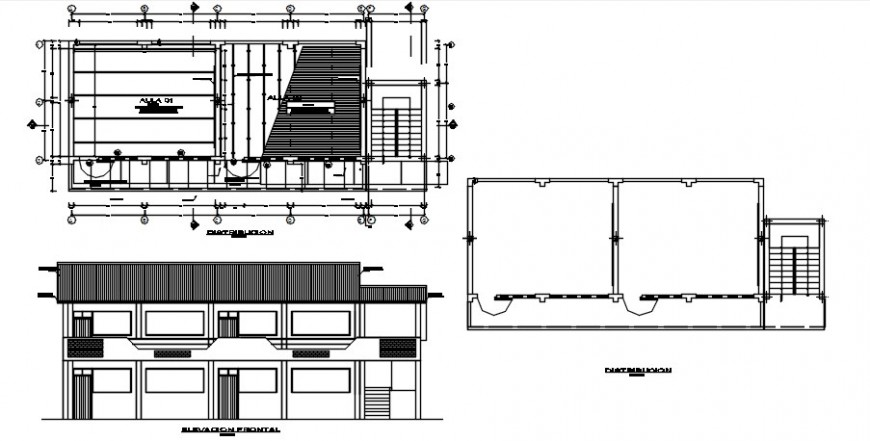 Elementary school elevation, plan and structure details dwg file