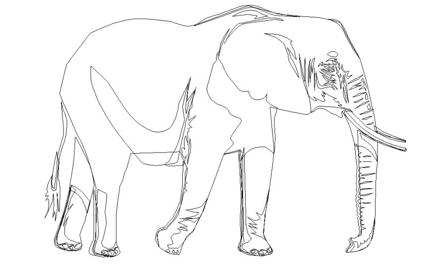 Elephant Block Design in autocad File