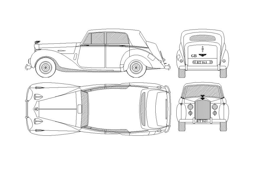Elevation, plan, front and back view of design of car dwg file