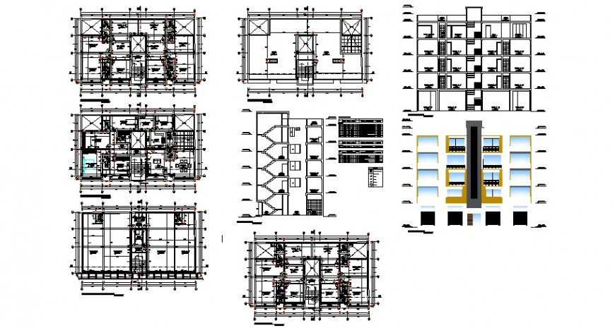 Elevation, plan and section detail of high rise building 2d view CAD structural block layout dwg file