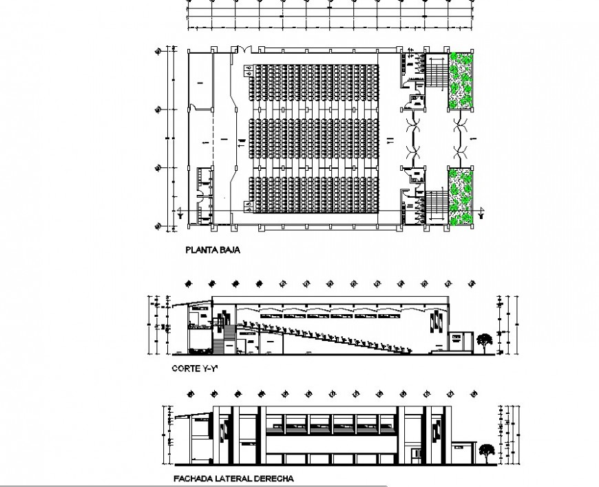 Elevation, plan and sectional detail of multiplex theater building 2d view layout file in autocad format