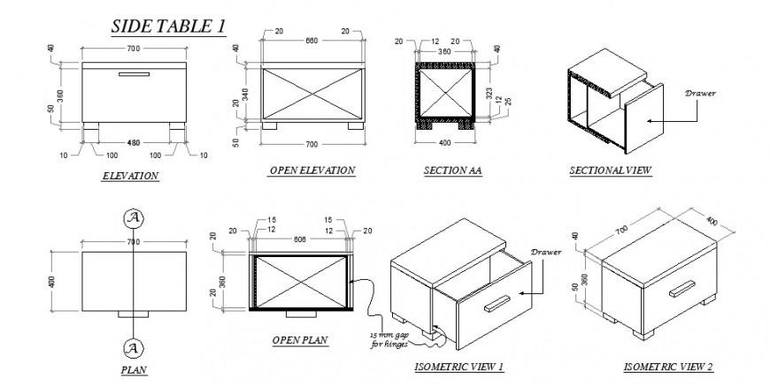 Elevation, plan and sectional detail of side table autocad file