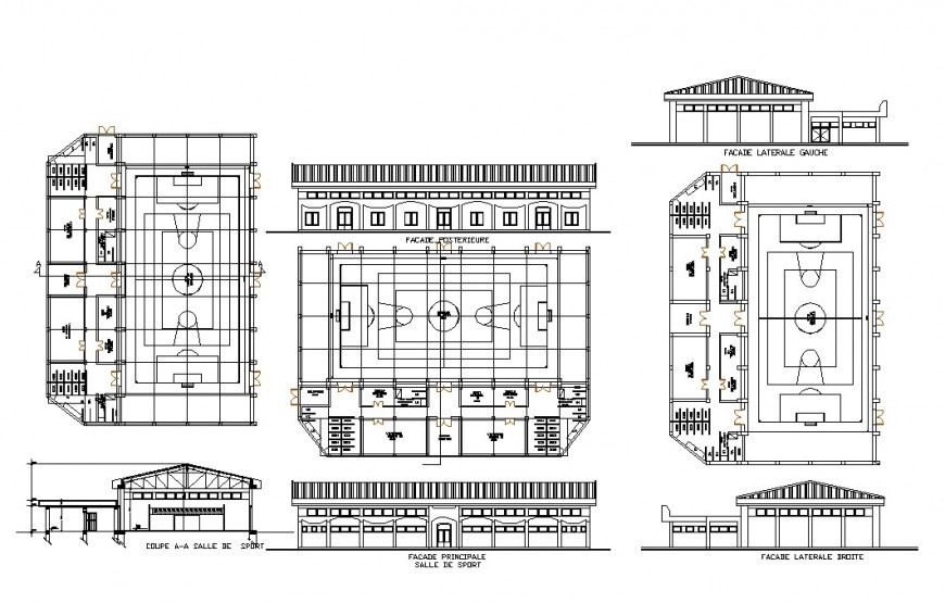 Elevation, plan and sectional detail of stadium play-ground 2d view layout autocad file