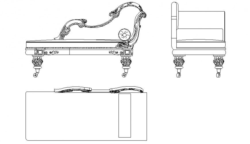 Elevation, plan and side view of sofa set with furniture area dwg file
