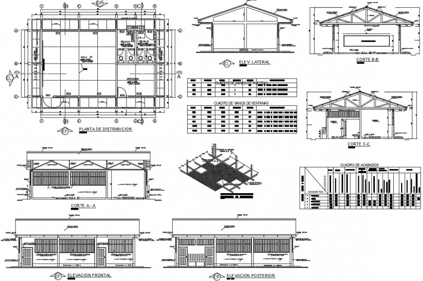 Elevation, section, distribution plan and structure details of school building dwg file