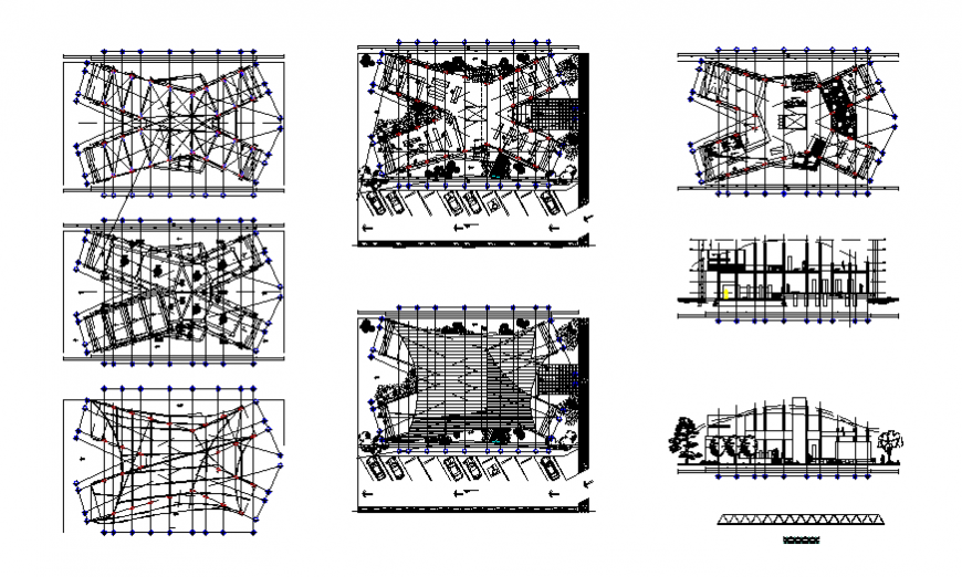 Elevation, section, floor plan and auto-cad details of corporate building dwg file