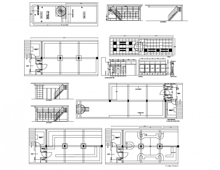 Elevation, section, plan and structure details of Nutan garment shop dwg file