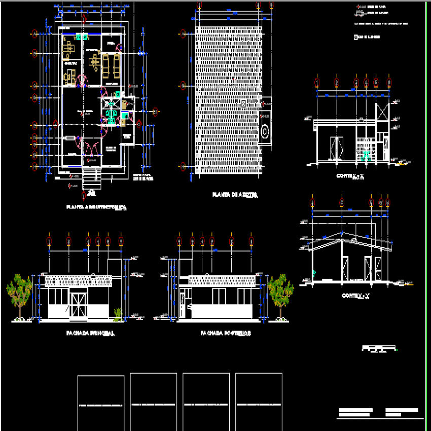 Elevation, section and layout plan details of health center dwg file
