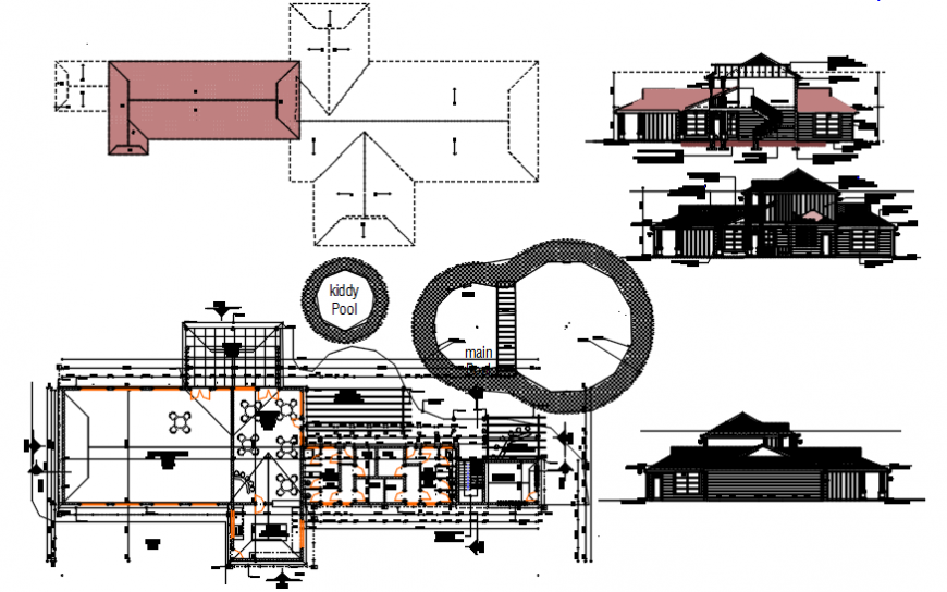Elevation, section and plan details of clubhouse with garden drawing details dwg file
