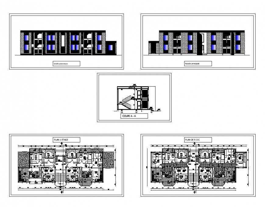 Elevation, section and plan of hostel building structure 2d view CAD construction layout autocad file