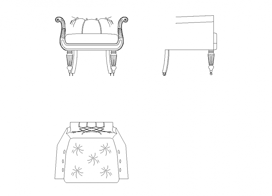 Elevation, side view and plan of designer sofa set dwg file