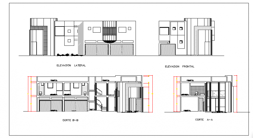Elevation- Section design of  single family home design drawing