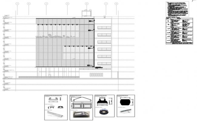 elevation and exterior lighting fixture layout of  building