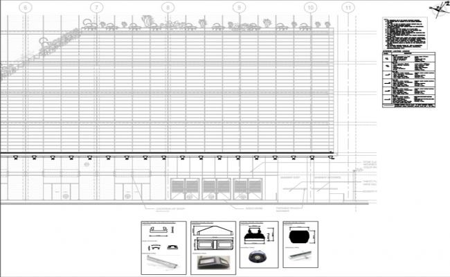 elevation and exterior lighting fixture layout of corporate building