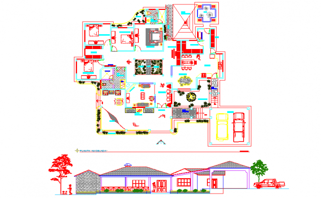 elevation of a bungalow and architectural  layout plan dwg file