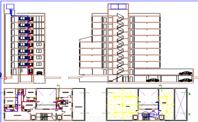 elevation of apartment dwg file