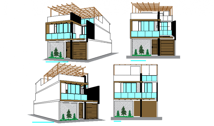 Elevation & Iso view design drawing of single family house design drawing