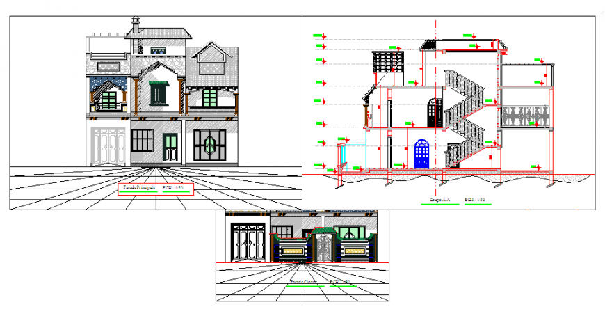 Elevation & section design layout design drawing of villa house