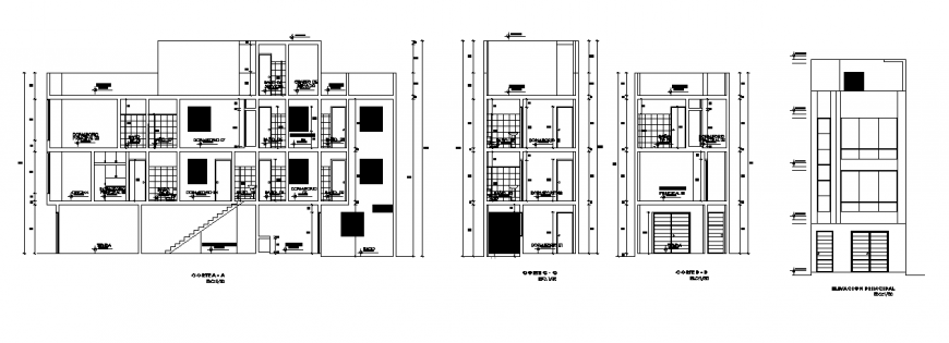 Elevation & section plan of single family home project design drawing