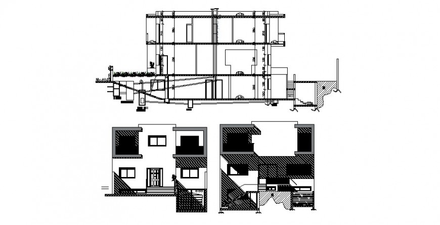 Elevation and different axis section view of villa in AutoCAD file