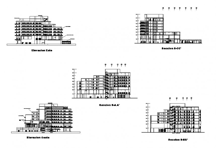 Elevation and different section view of hotel in auto cad file