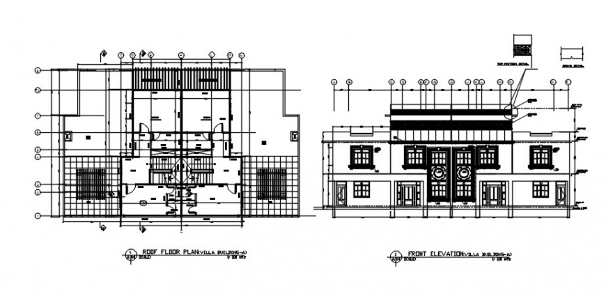 Elevation and floor plan details of housing bungalow 2d view dwg file