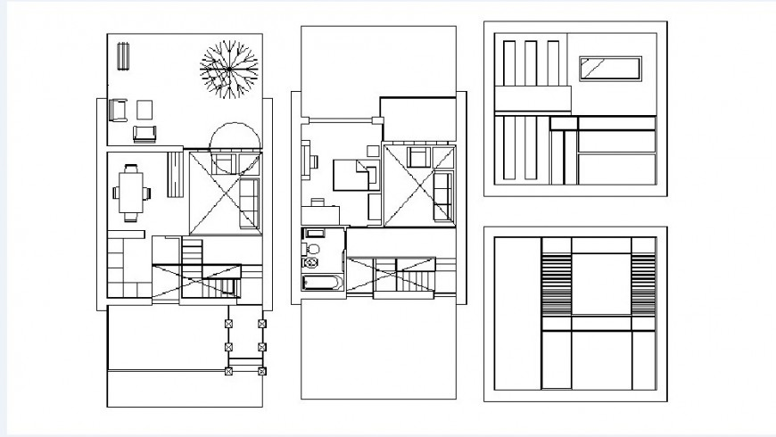 Elevation and floor plan drawing details of two story house dwg file