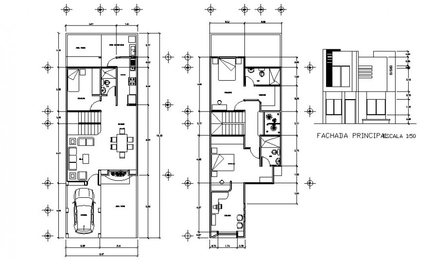 Elevation and floor plan drawings of residential house 2d view autocad file
