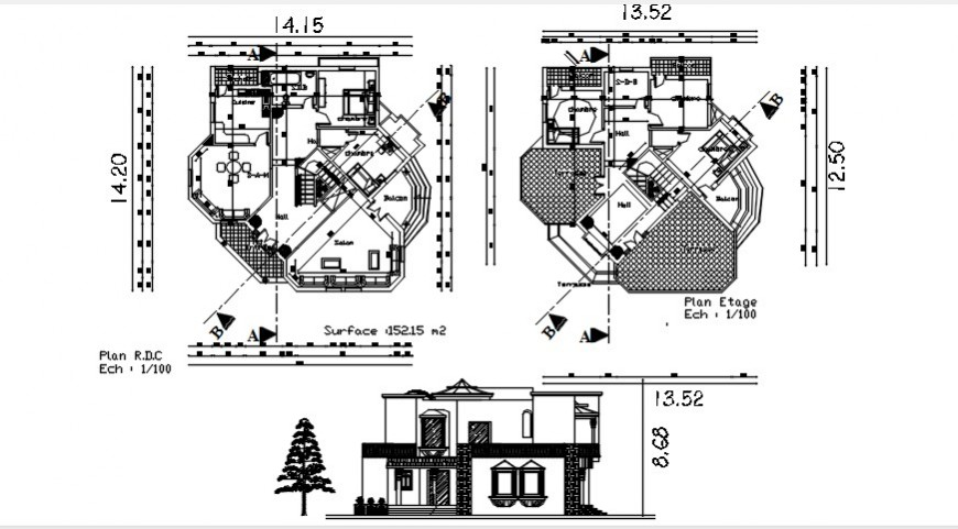 Elevation and floor plan of house CAD drawings dwg autocad file