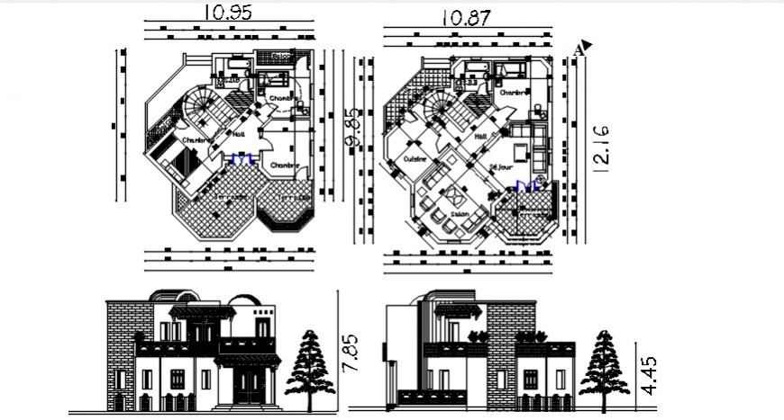 Elevation and floor plan of house with furniture units dwg file