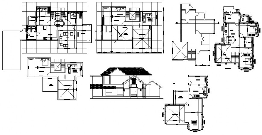 Elevation and house plan detail 2d view CAD structural block layout file in autocad format