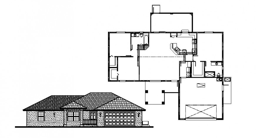 Elevation and layout plan of house bungalow 2d view autocad software file
