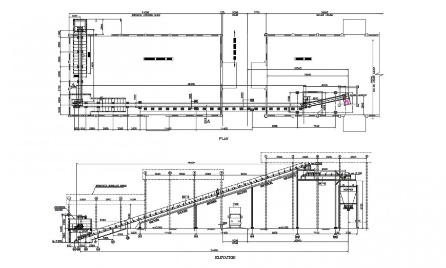 Elevation and plan fuel handling system layout in dwg file