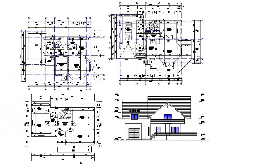 Elevation and plan of house 2d view CAD structural block autocad file