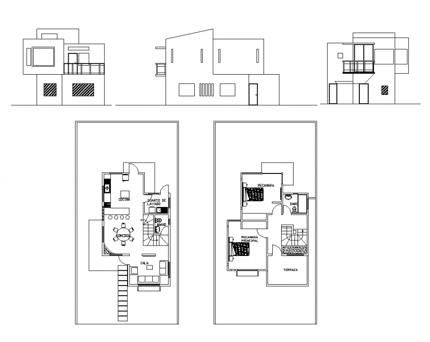 Elevation and plan of House building 2d view layout dwg file