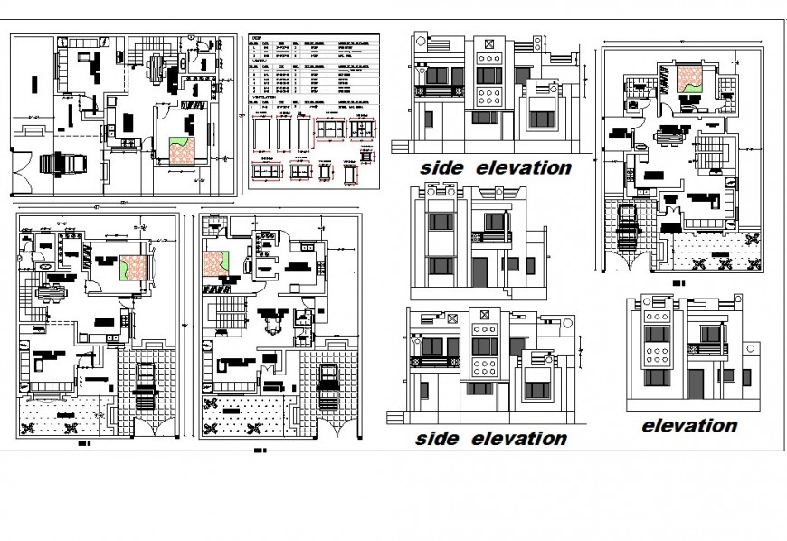 Elevation and plan of house detail 2d view CAD block layout file in autocad format