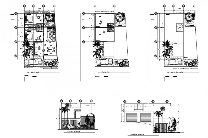 Elevation and plan of house detail 2d view layout file in dwg format
