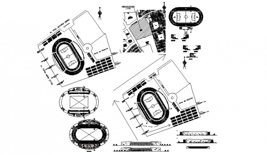 Elevation and plan of sports playground area 2d view autocad file