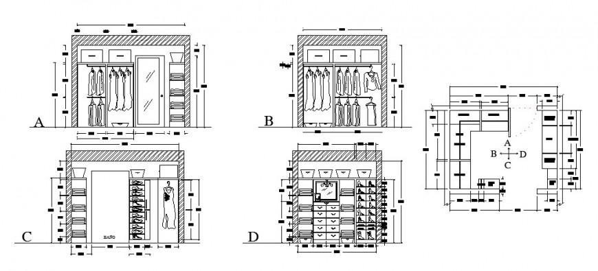 Elevation and plan of wardrobe furniture block autocad file