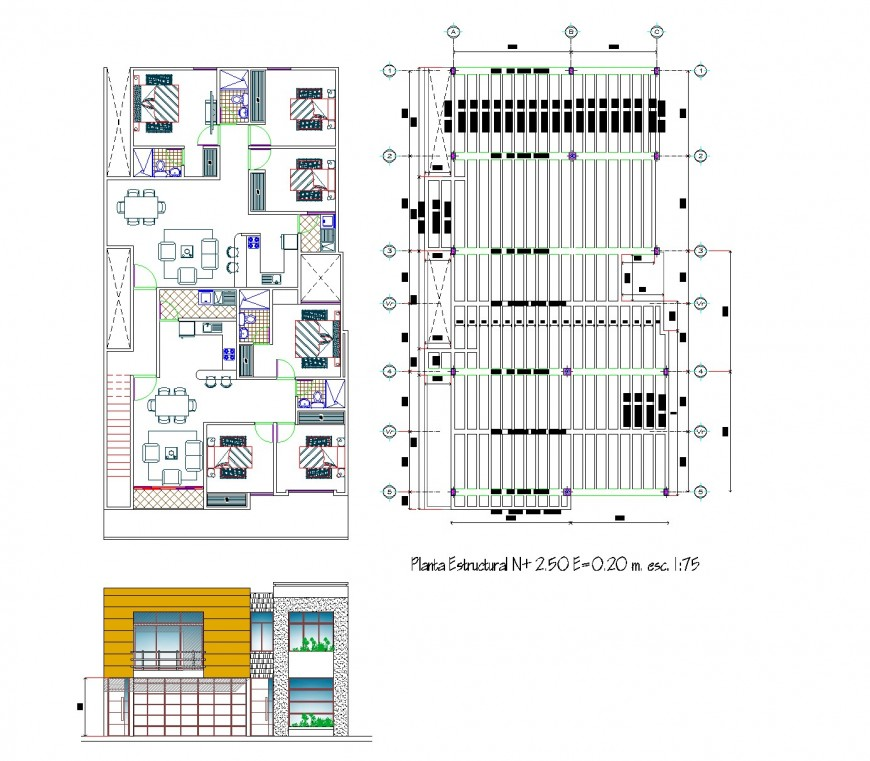 Elevation and plan row house autocad file