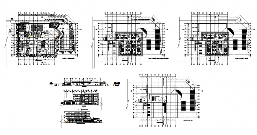 Elevation and plan view of restaurant building structure 2d view layout dwg file