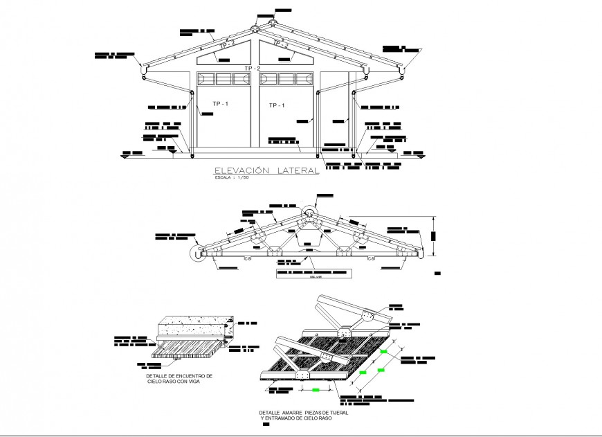 Elevation and roof section Educational institution layout file