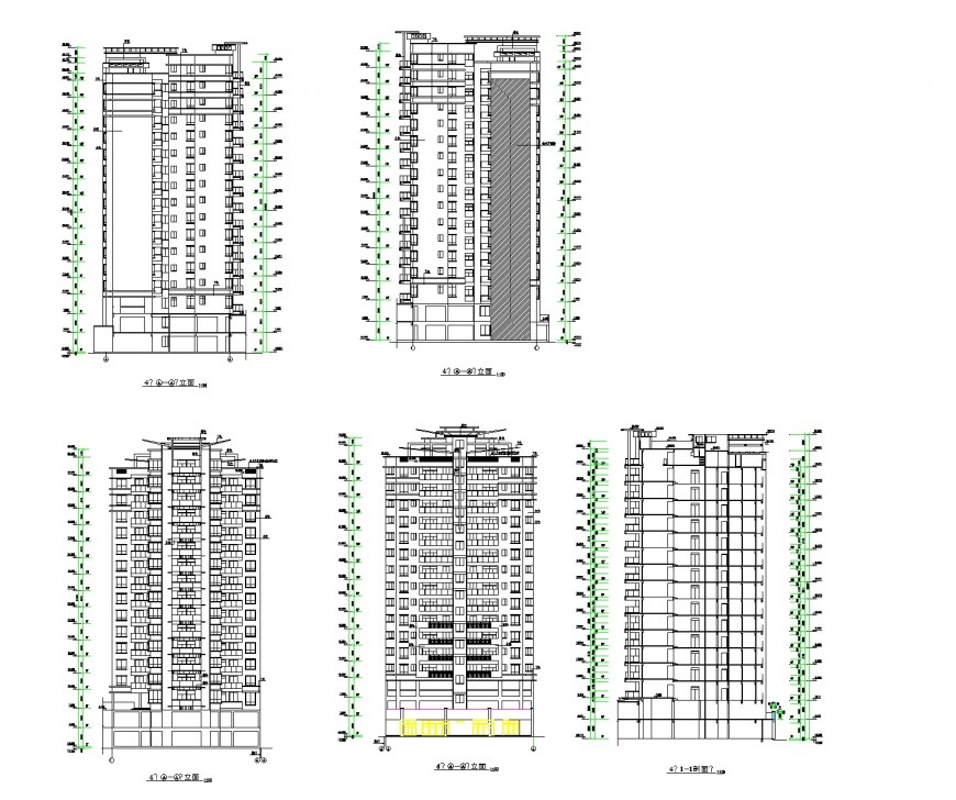 Elevation and section apartment flat plan dwg file