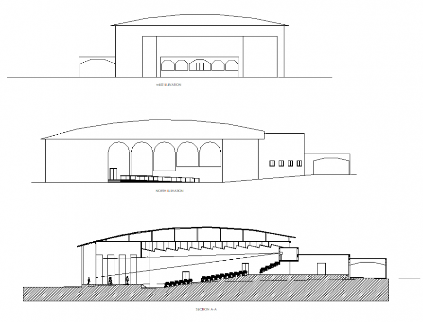 Elevation and section auditorium commercial plan detail dwg file