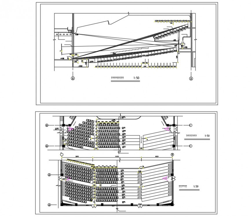 Elevation and section auditorium plan layout file