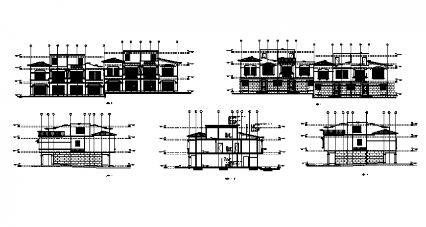 Elevation and section bungalow planning detail layout file