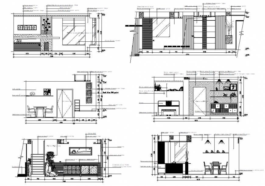 Elevation and section coffee bar detail dwg file